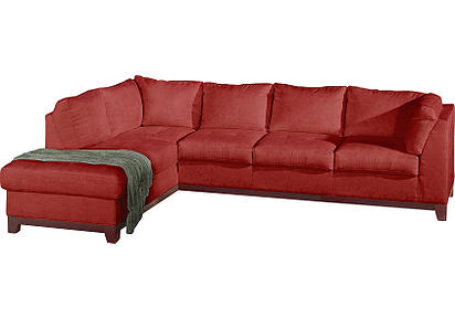 red sofa Right sectional with bumper
