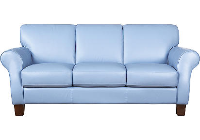 blue leather sofa